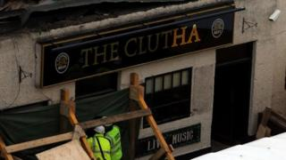 Scene of the Clutha pub in Glasgow where the helicopter crashed