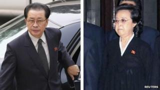 Combination picture of Chang Song-thaek (L) in Beijing on 17 August 2012 and his wife Kim Kyung-hee in Pyongyang, in this picture released by KCNA on 26 December 2011