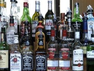 Spirits behind a bar