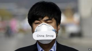 """Protester wearing """"China smog"""" face mask"""