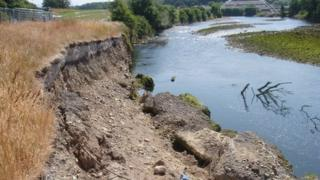 Riverbank erosion at Northside, prior to works starting on site