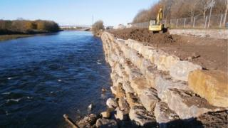 Riverbank protection work nearing completion, pictured is a section of the rock 'armour'