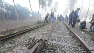 Damaged railway line in the Bangladeshi district of Bogra