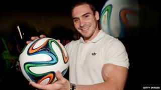 Brazilian gymnastics athlete Arthur Zanetti with Brazuca ball