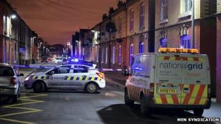 A street in Salford cordoned off by the police