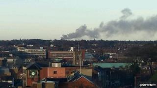 Fire at Hainford Hall scrapyard viewed from Norwich city centre