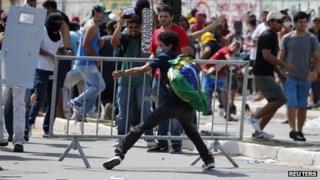Protesters in Fortaleza