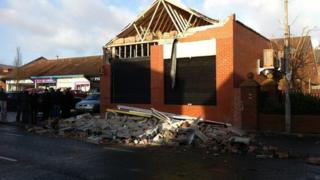 This shop on the Grosvenor Road in Belfast partially collapsed