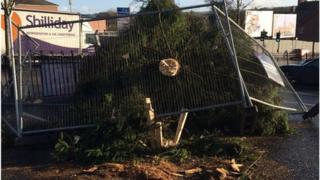 The Christmas tree in Ballyclare, County Antrim was blown over by the strong winds