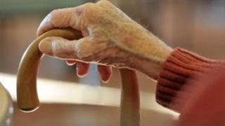 An elderly woman's hand on a stick