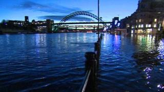 Flooded quayside