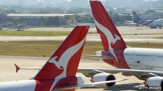 Qantas plane tails