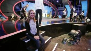 Jennifer Grout on the set of Arabs Got Talent
