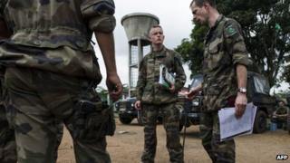 French troops being briefed at camp in Cameroon