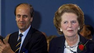 Lord Tebbit and Baroness Thatcher in 1987