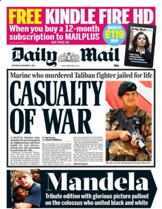 Daily Mail front page 7/12/13