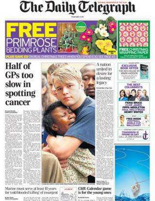 Daily Telegraph front page, 7/12/13