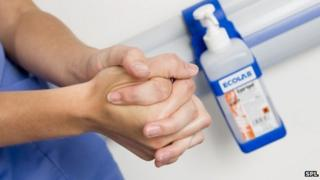 Hospital staff washing hands