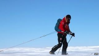 Prince Harry leads Team UK out of the starting blocks into the snow on day one of the South Pole challenge