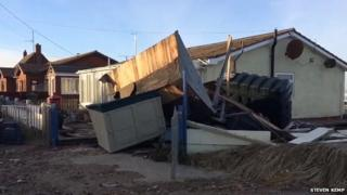 Tidal storm damage at Walcott