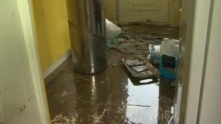Homes have been left damaged by the flood water from Thursday