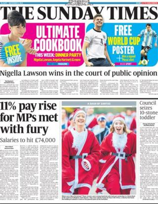 Sunday Times front page 8/12/13