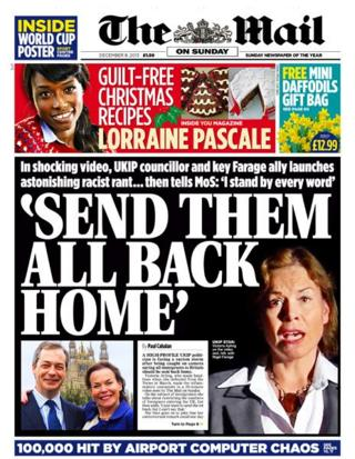 Mail on Sunday front page 8/12/13