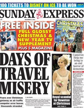 Sunday Express front page 8/12/13