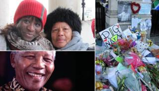 Clockwise from top left: Ufuoma Overo-Tarimo with Lee Sanowar McKee, flowers outside South Africa House and Nelson Mandela in 1999