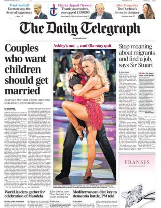Daily Telegraph front page 9/12/13