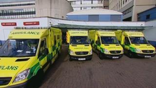 Ambulances queuing outside hospital