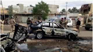 Site of car bomb attack in Buhriz (09/12/13)