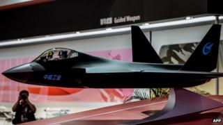 A concept model of a Chinese stealth fighter at a trade fair