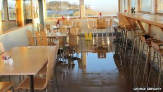 Flooded visitor centre at Gibraltar Point