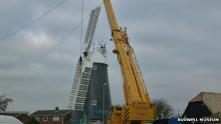 Sails being replaced on Burwell Mill