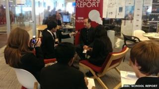 School Reporters interviewing Steve Herrmann