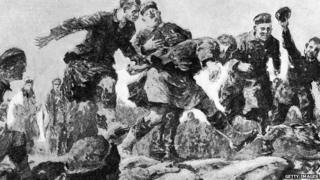 'Christmas Truce in the Trenches' by Gilbert Holliday, from a description by an eye witness rifleman