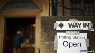 A polling station open for the 2012 PCC and Bristol mayoral elections