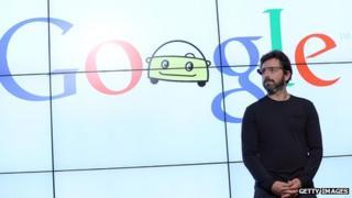 Google logo and man