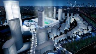Artist's impression of the plans for stadium and regeneration