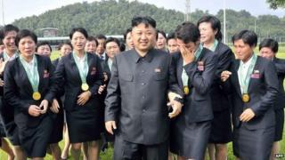 File photo: Kim Jong-un (C) with members of the North Korean women's football team