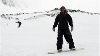 Snowboarder at ski resort
