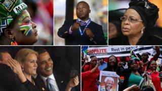 Clockwise from top left: Mourner, deaf signer, Graca Michel, celebrating crowds, President Obama with Denmark's PM Helle Thorning-Schmidt