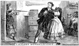A jealous woman fires at her former lover, mistaking a mannequin for a love rival. Picture: The British Library Board, Illustrated Police News, November 9, 1872