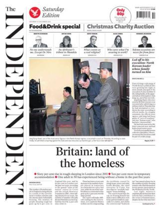 Independent front page 14/12/13