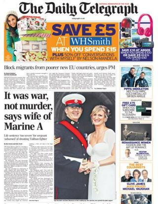 Daily Telegraph front page 14/12/13