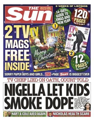 Sun front page 14/12/13