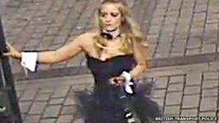 CCTV pictures of girl dressed as a bunny girl