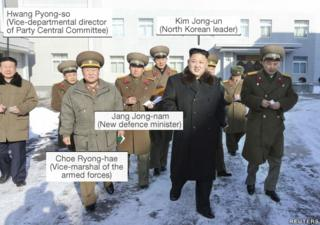 Kim Jong-un (North Korean leader) – centre, black coat; Hwang Pyong-so (Vice-departmental director of Party Central Committee) - far left, civilian clothes; Choe Ryong-hae, (Vice-marshal of the armed forces) - third from left, holding little green book; Jang Jong-nam (New defence minister) - 4th from left, holding big notes