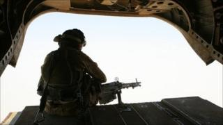 British army Chinook aircrewman in silhouette
